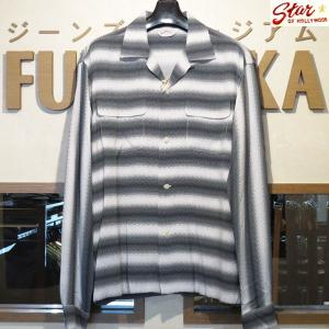 スターオブハリウッド Star☆OF HOLLYWOOD GRADATION STRIPES 高密度レーヨン長袖オープンシャツ【SH28121】105番色(オフホワイト)|furutaka