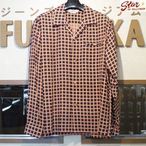 スターオブハリウッド Star☆OF HOLLYWOOD SQUARE GRID 高密度レーヨン長袖オープンシャツ【SH28125】119番色(ブラック)|furutaka