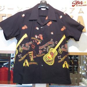 スターオブハリウッド Star☆OF HOLLYWOOD ROCK'NROLL GUITAR 半袖オープンシャツ【SH38117】119番色(ブラック) furutaka