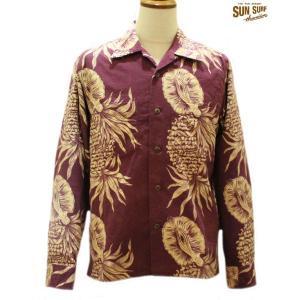 サンサーフ 長袖アロハシャツ Sun Surf PINEAPPLE BPRDER フランネル長袖オープンシャツ【SS27410】166番色(バーガンディー)|furutaka