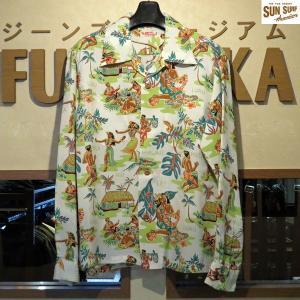 Sun Surf サンサーフ 長袖アロハシャツ Sun Surf LUAU  レーヨン長袖ハワイアンシャツ【SS28015】105番色(オフホワイト)|furutaka
