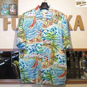 サンサーフ アロハシャツ Sun Surf スペシャルエディション HULA MA KAI レーヨン壁縮緬半袖ハワイアンシャツ【SS37253】128番色(ネイビー)|furutaka