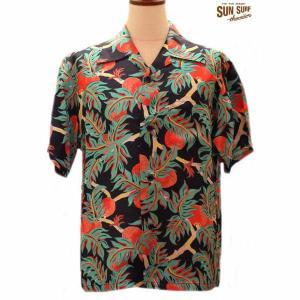 サンサーフ アロハシャツ Sun Surf BREAD FRUITS レーヨン半袖ハワイアンシャツ【SS37465】119番色(ブラック)|furutaka