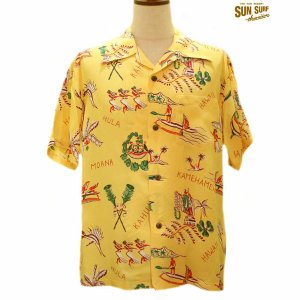 サンサーフ アロハシャツ Sun Surf THE HAWAIIAN GOOD OLD TIMES レーヨン半袖ハワイアンシャツ【SS37775】155番色(イエロー)|furutaka