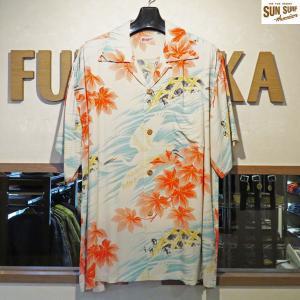 サンサーフ アロハシャツ Sun Surf WHEELING EGRET レーヨン壁縮緬半袖ハワイアンシャツ【SS37778】105番色(オフホワイト)|furutaka