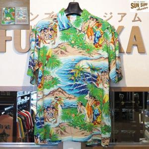 サンサーフ アロハシャツ Sun Surf スペシャルエディション FESTIVAL レーヨン壁縮緬半袖ハワイアンシャツ【SS37862】128番色(ネイビー)|furutaka