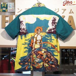 サンサーフ アロハシャツ Sun Surf スペシャルエディション Hukilau 半袖ハワイアンシャツ【SS38103】145番色(グリーン) furutaka