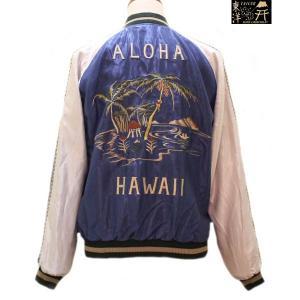 テーラー東洋 スカジャン アセテートスカ PALM TREE×HAWAII MAP【TT14074】125番色(ブルー/シルバー×オフ/オフ)|furutaka
