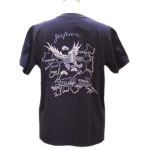 テーラー東洋 スカTシャツ INDIGO EMBROIDERED JAPAN MAP【TT78000】128番色(ネイビー)|furutaka