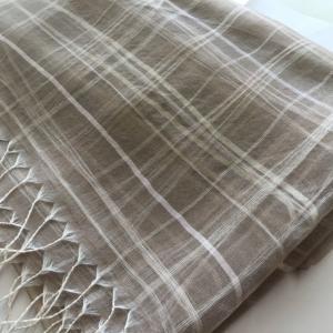 シルク100% 三重ゆらぎチェックストール 山形の絹|fushikian