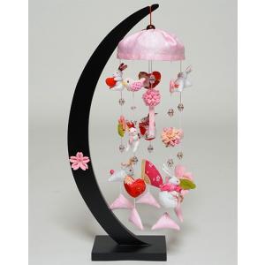 【つるし飾】【ひな人形】つるし雛うさぎと桜三日月卓上飾【吊るし雛】【雛人形】