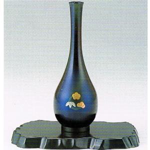 銅製花瓶・6寸鶴首・松竹梅・紺色・日本製・代引き不可・工房直送品74-20