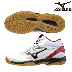 ミズノ mizuno サイクロンスピード 2 MID V1GC198509 バレーボール シューズ レディース ホワイト×ブラック×レッド|futabaathlete
