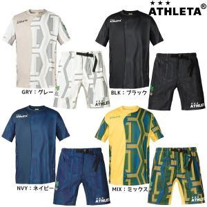 2018年NEW アスレタ ATHLETA 総柄プラクティスシャツ&カジュアルハーフパンツ 03311-04117 上下セット|futabaharajuku