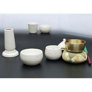 色:白 サイズ:径7.5cm おしゃれで可愛い形のモダンな仏具(陶製)におリンをお付けしました。  ...