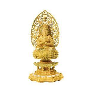 仏像  仏具  柘植 切金淡彩 八角台座 大日如来像 (真言宗) 飛天光背 3.0 飛天光背