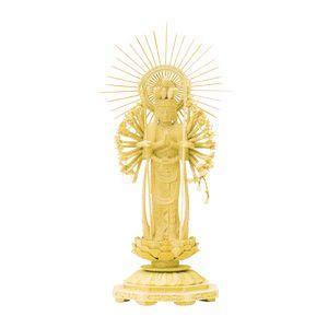 仏像  仏具  総柘植 八角台座 十一面千手観音菩薩 櫛光背 6.0