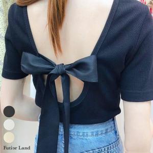 Tシャツ バックリボン バックオープン リボン トップス カットソー 韓国 ファッション バックオー...