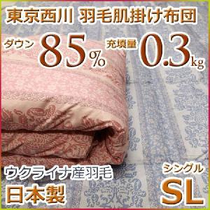東京西川 ダウンケット 羽毛肌掛け布団 ウクライナ ダウン85% MD3308 シングルサイズ 日本製|futon-kingdom