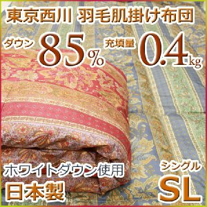 東京西川 ダウンケット 羽毛肌掛け布団 ホワイトダウン85%AQ9005 シングルサイズ 日本製|futon-kingdom