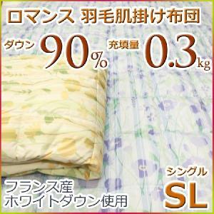ロマンス 洗える 羽毛肌掛け布団(ダウンケット) フランスホワイトダウン90% 1410-0755 シングルサイズ|futon-kingdom