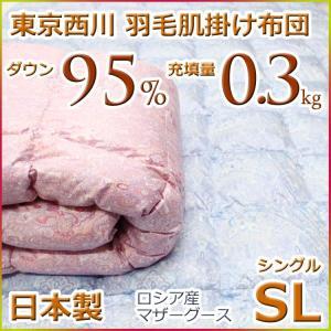 東京西川 ダウンケット 羽毛肌掛け布団 ロシアンマザーグースダウン95% MD0350 シングルサイズ 日本製|futon-kingdom
