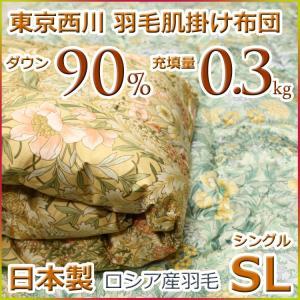 東京西川 西川 洗える 羽毛肌掛け布団(ダウンケット) ロシアンホワイトダウン90% KV1073SL シングルサイズ 日本製|futon-kingdom