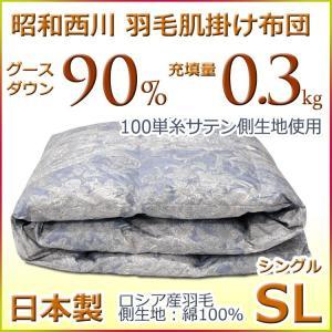 昭和西川  羽毛肌掛け布団(ダウンケット)ロシア産グース ダウン90% SEMIX-B ブルー シングルサイズ|futon-kingdom