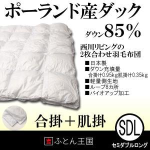 羽毛布団 西川リビング ポーランドダックダウン85%2枚合わせ 羽毛布団 511 セミダブルサイズ ツインダウン|futon-kingdom