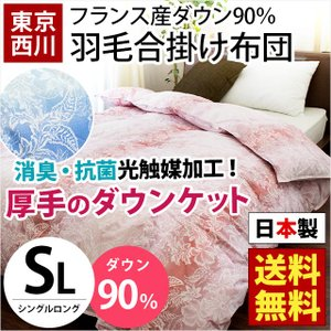 西川 羽毛合掛け布団 シングル 日本製 フランス産ダウン90% 消臭 抗菌 ダウンケット 秋の羽毛布団|futon
