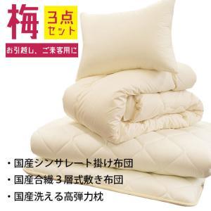 布団セット シングル 3点セット 日本製 シンサレート掛け布団 合繊 敷き布団 枕 組布団|futon