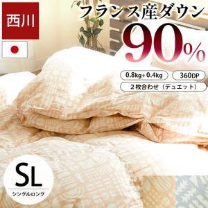西川 羽毛布団 ランキング入り シングル ダウン90% 2枚合わせ 洗える|futon