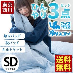 ひんやり寝具3点セット セミダブル 東京西川 接触冷感アイスプラス 肌掛け布団 冷感敷きパッド 枕パッド 涼感マット|futon