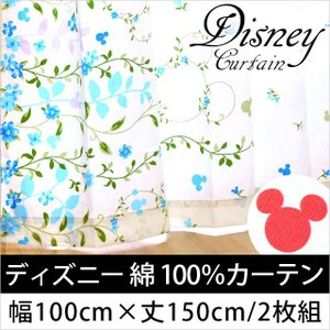 ディズニー カーテン 綿100% コットンミッキー 幅100cm×丈150cm 2枚組 日本製 futon