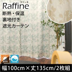 遮光カーテン 幅100cm×丈135cm 2枚組 断熱 保温 裏地付き リーフ柄 2重ドレープカーテン ラフィネ|futon