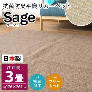 カーペット 3畳 江戸間 176×261cm 日本製 抗菌 防臭 平織り フリーカット 絨毯 サージュ|futon
