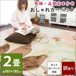 訳あり品 ラグ 2畳 185×185cm ホットカーペット対応 ラグマット 色柄・品質おまかせ 秋冬ラグ|futon