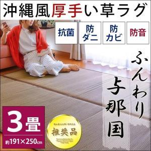 い草ラグ 3畳 191×250cm 涼感 夏用 ウレタン入り 厚手 防音カーペット ふんわり与那国|futon