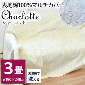 洗えるマルチカバー 長方形 3畳用 190×240cm シンプル キルトカバー シェールの写真