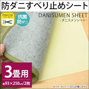ラグ 滑り止めシート 3畳用 93×250cm(2枚入り) カットできる 防ダニ・抗菌 ダニスメンシート|futon