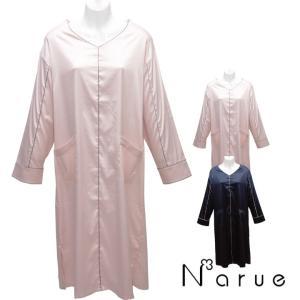 Narue ナルエー moon tan サテンシンプルラインルームウェア レディース ピンク/ネイビー M~L寸(フリーサイズ)|futonhouse