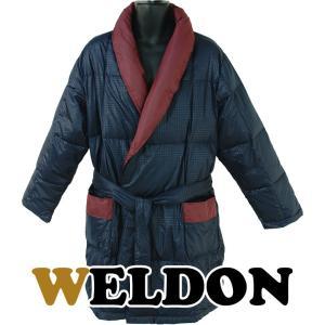 WELDON ウエルドン 羽毛紳士セミロングガウン 無地チェックプリント ダウン80% カラー:ネイビー(28) L寸|futonhouse