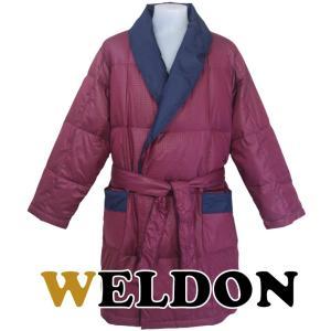 WELDON ウエルドン 羽毛紳士セミロングガウン 無地チェックプリント ダウン80% カラー:エンジ(68) L寸|futonhouse
