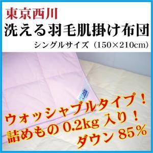 洗える羽毛肌掛け布団 ダウンケット シングルサイズ ダウン85% ウォッシャブル 夏掛け 肌布団 東京西川|futonhouse