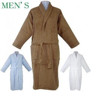 マイヤー無地 メンズ紳士バスローブ フリーサイズ  カラー:ブルー・ブラウン・ホワイト 【期間限定 送料無料】 TTI1990062|futonhouse