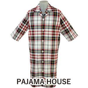 パジャマハウス 先染マドラスチェック七分袖メンズスリーパー 前開きタイプ 日本製|futonhouse
