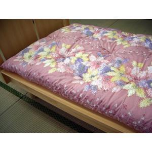 手作り綿わた 敷布団・インド綿100%使用 和柄 華かさね・ピンク|futonmall