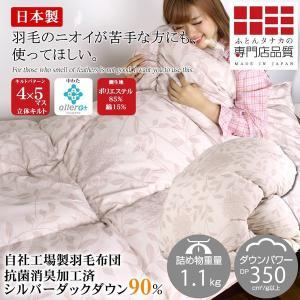 羽毛布団 シングルサイズ シルバーダックダウン90% 150×210cm 送料無料 日本製 370dp アレルG イネス