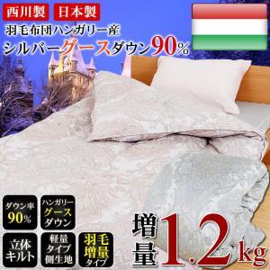 羽毛布団 シングルロングサイズ 150×210cm 西川 ハンガリー産グースダウン90% 日本製 増量 1.2kg FCH1202 父の日 ギフト|futontanaka
