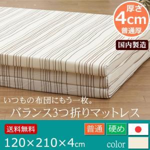 マットレス セミダブル 120×210×4 日本製 ヘタりが気になる方へ バランス4つ折りマットレス|futontanaka